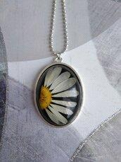 Ciondolo margherita grande collana con ciondolo fiori ciondolo fatto a mano collana lunga