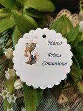 Biglietto Bomboniera tag Prima Comunione calice