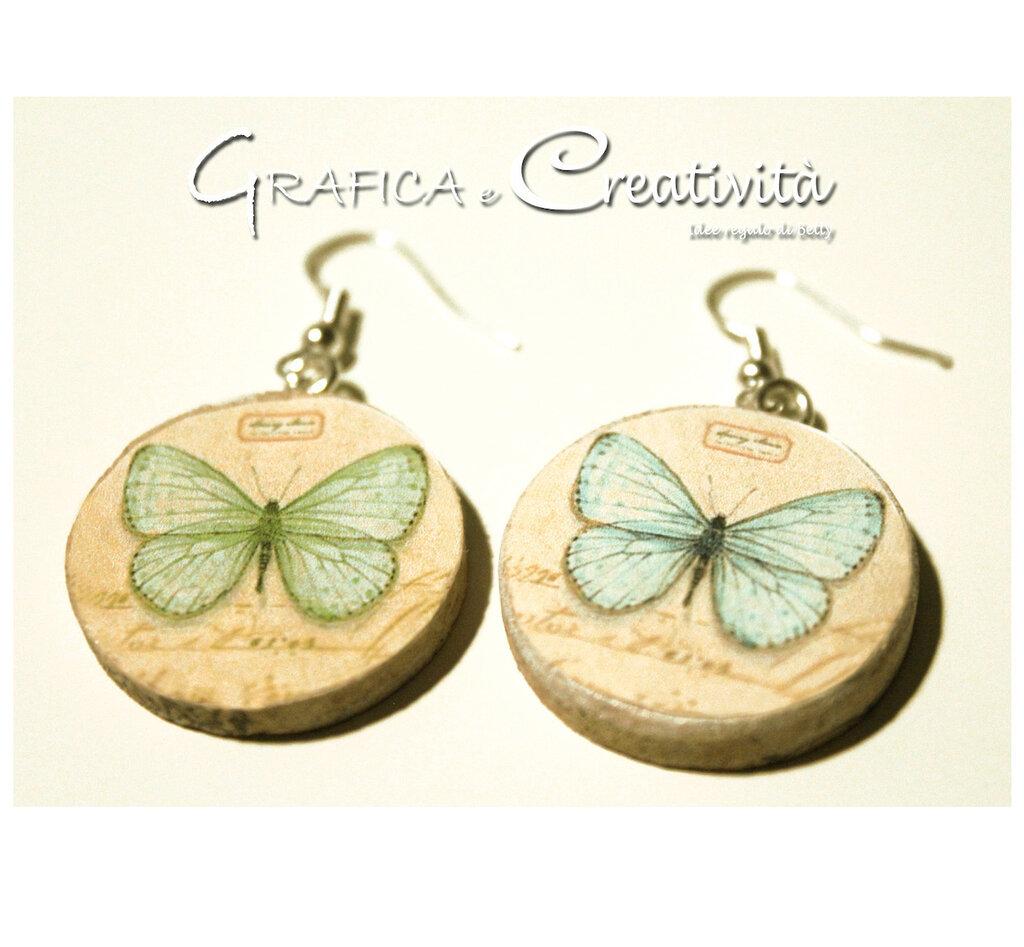 Orecchini in sughero con decoupage farfalla vintage