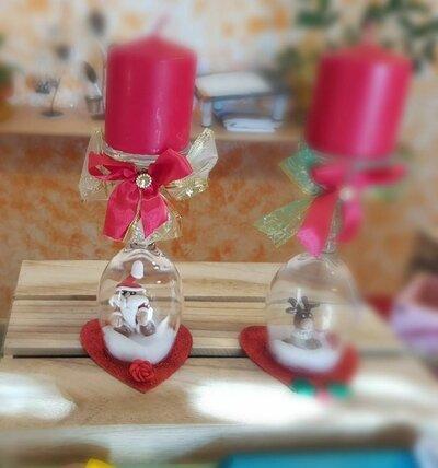 centro tavola natalizio con candela