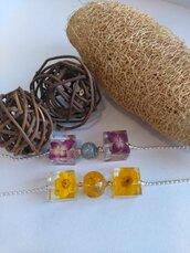 Collana donna con fiori ortensia ranuncolo giallo ciondolo fiori fatto a mano ciondolo resina