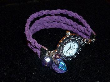 orologio finta pelle viola swarovski