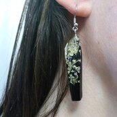 Orecchini lunghi donna orecchini donna ciondolo resina fiori veri fiori di campo orecchini fatti a mano orecchini neri