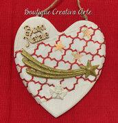 Fuoriporta Natale in legno a forma di cuore - modello 2