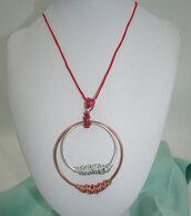 Collana wire in alluminio  rame e cordino rosso