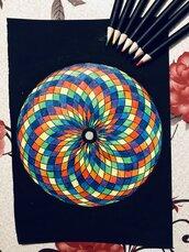 Mandala arcobaleno su sfondo nero