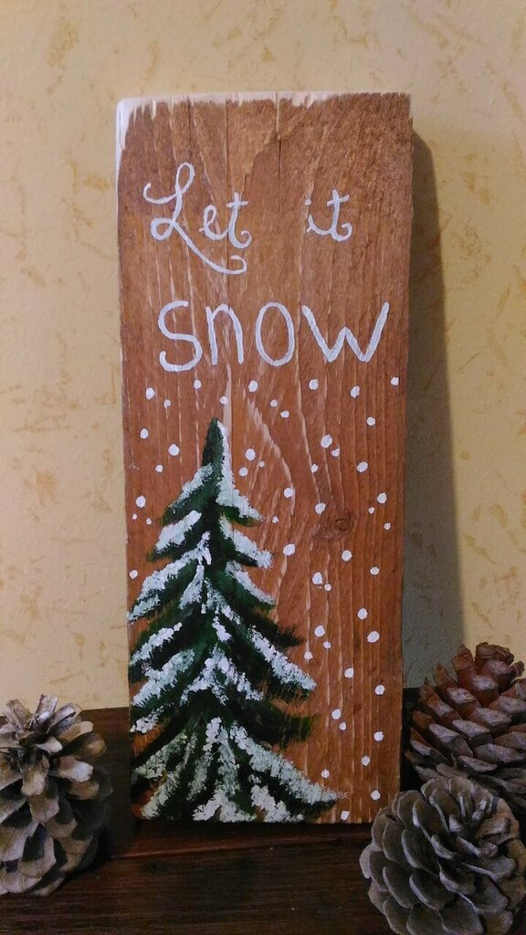 "idea regalo dipinta a mano ""let it snow"""