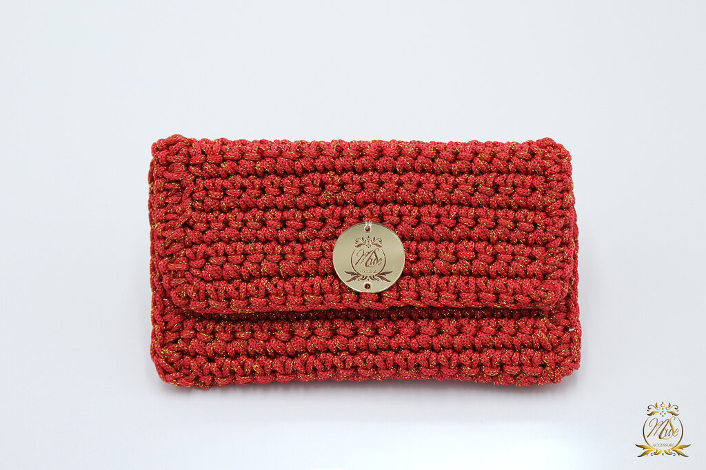 Borsellino portamonete o portaoggetti/ borsellino uncinetto rosso