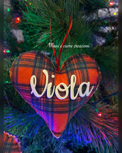 Decorazioni Natalizie personalizzate - cuore imbottito con nome - albero Natale