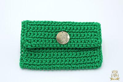 Borsellino portamonete o portaoggetti/ borsellino uncinetto verde smeraldo