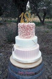 Torta finta: compleanno rosa antico, così elegante e raffinato.