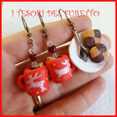 """Set  3 orecchini Natale """" tazza cioccolata e piattino biscotti rosso """" fimo cernit natalizi gioielli kawaii"""