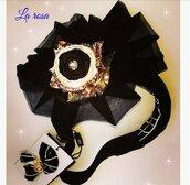 Cerchietto glamour nero in tulle con rosa a specchio