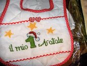 """Bavaglini grandi """"il mio  primo Natale"""" completamente realizzati a mano"""