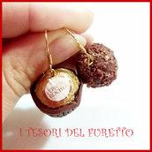 """Orecchini Natale """" ferrero roches """" cioccolatini natalizi idea regalo fimo cernit personalizzabile con clip su richiesta"""