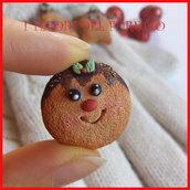 """Spilla Natale """" Biscotto tondo di Natale """" fimo cernit kawaii idea regalo"""