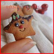 """Spilla Natale """" Biscotto stella i Natale """" fimo cernit kawaii idea regalo"""