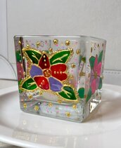 Portacandela in vetro floreale dipinto a mano