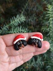 Orecchini da lobo in fimo cane cavalier king charles in fimo natalizi, gioielli natalizi come idea regalo per amanti dei cani o ricordo cane