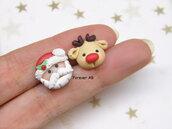Natale Orecchini lobo Babbo Natale e Rudolph renna natalizi fimo idea regalo ragazza donna