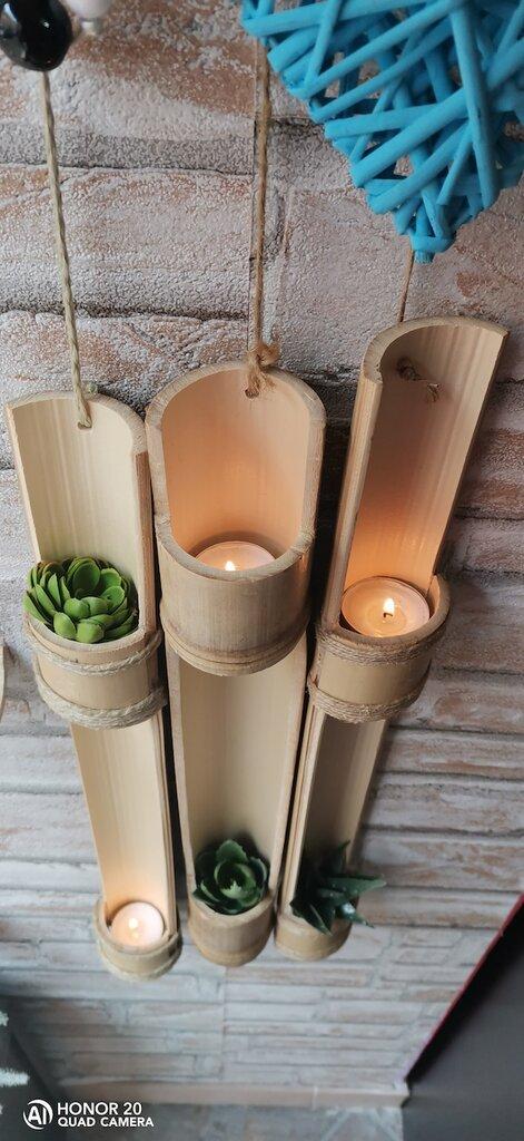 Bamboo vero intagliato porta candela