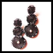Orecchini pendenti in soutache neri e grigi