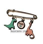 Spilla Dinosauri kawaii - Brachiosauro e Tirannosauro - RAWR - idea regalo kawaii - miniature handmade