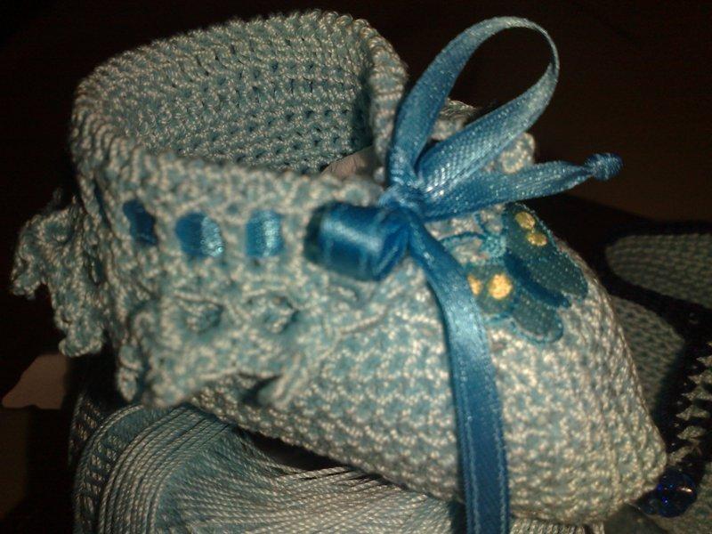 Scarpette neonata con ricamo