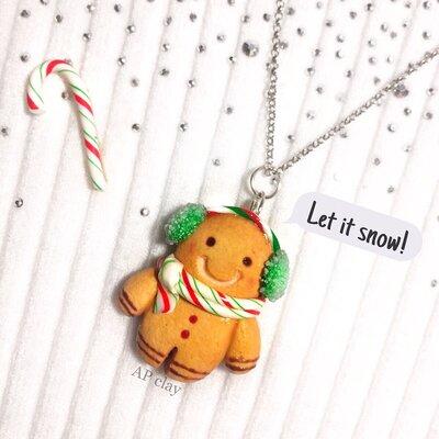 Gingerbread man omino pan di zenzero ciondolo collana