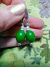 Orecchini pendenti con vera giada verde e perla d'acqua dolce pietre dure naturali chakra cristalloterapia