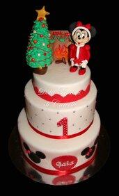 Torta scenica,primo compleanno topolina.feste natale