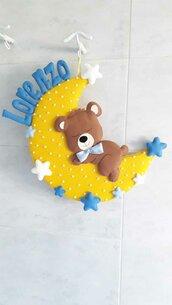 Fiocco di nascita con orsetto che dorme sulla luna