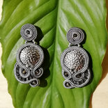 "orecchini tessili in soutache ""MOONLIGHT"" silver 925"