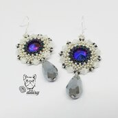 Orecchini viola, lilla, argento in tessitura di perline