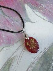 Collana con ciondolo fatto a mano ciondolo fiori resina ciondolo rosso ciondolo mini collana regolabile collana regolabile