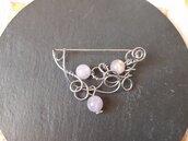 Spilla wire con quarzo rosa