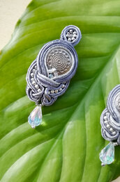 "orecchini tessili in soutache ""SHINE"" silver 925 grey"