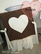 copri lavatrice/asciugatrice/pozzetto stile shabby su misura marrone e panna