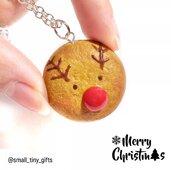 Renna di Natale Rudolph ciondolo collana in fimo