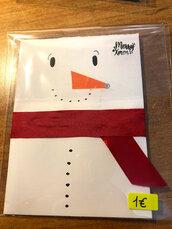 Biglietto Buon Natale con simpatico Pupazzo di Neve