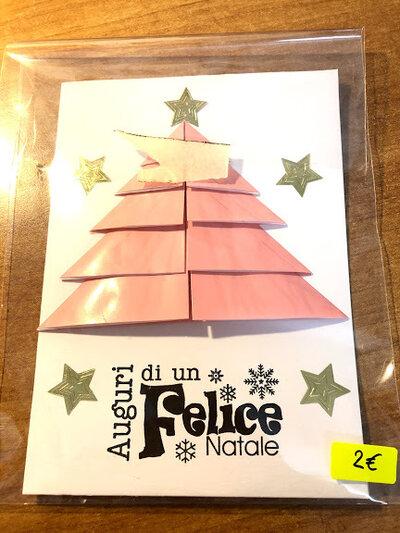 Biglietto Auguri Natale con Albero di Natale Rosa