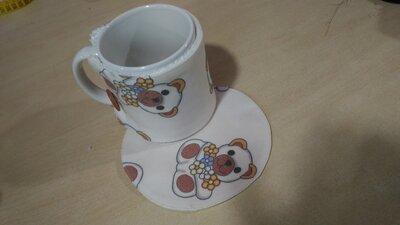 copritazza e sottotazza con orsetto con fiori, tazze da the e tisane, set colazione