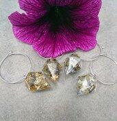 Orecchini diamante resina foglia oro foglia argento lavanda secca orecchini fatti a mano orecchini cerchio