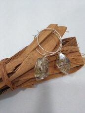 Orecchini cerchio fatti a mano ciondolo resina lavanda secca orecchini fatti a mano in resina