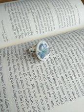 Anello regolabile anello fiori anello ovale anello fatto a mano fiori di ortensia anello midi foglia argento