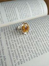 Anello fiori anello regolabile anello fatto a mano anello resina fiori gialli