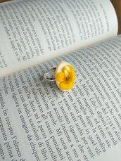 Anello fiori ranuncolo giallo anello fatto a mano ciondolo resina anello resina anello regolabile