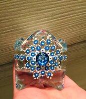 Portacandela in vetro con disegno mandala