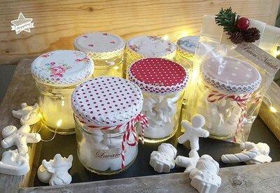 Gessi profumati in vasetto di vetro con coperchio rivestito di stoffa,idea regalo natale