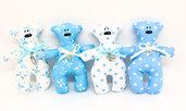 Orso cotone blu bomboniera battesimo bambino, festa nascita, confetti baby shower.